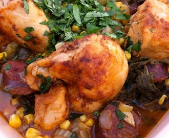 Smoked Paprika Braised Chicken with Andouille Sausage, Corn, Greens and Fresh Cilantro