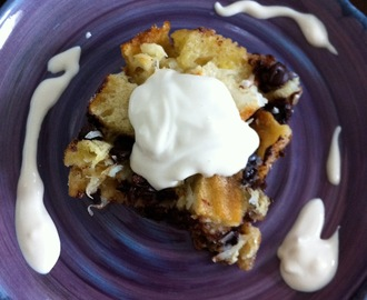 Chocolate and Coconut Bread Pudding with Sweetened Pouring Cream
