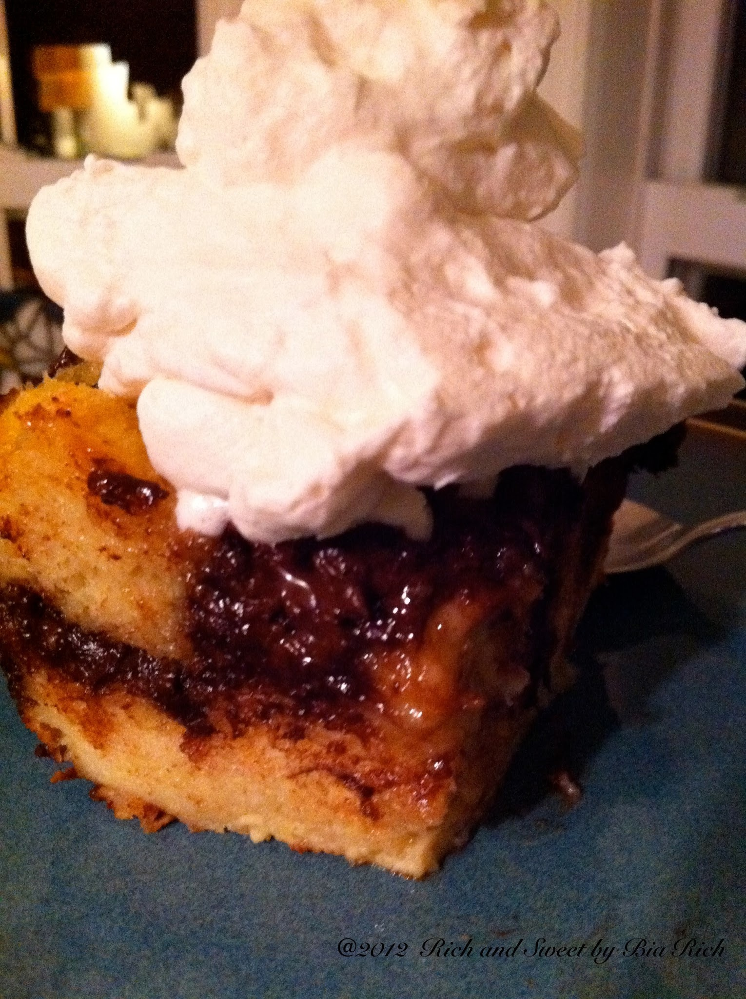 Chocolate Bread Pudding with Fresh Wipped Cream