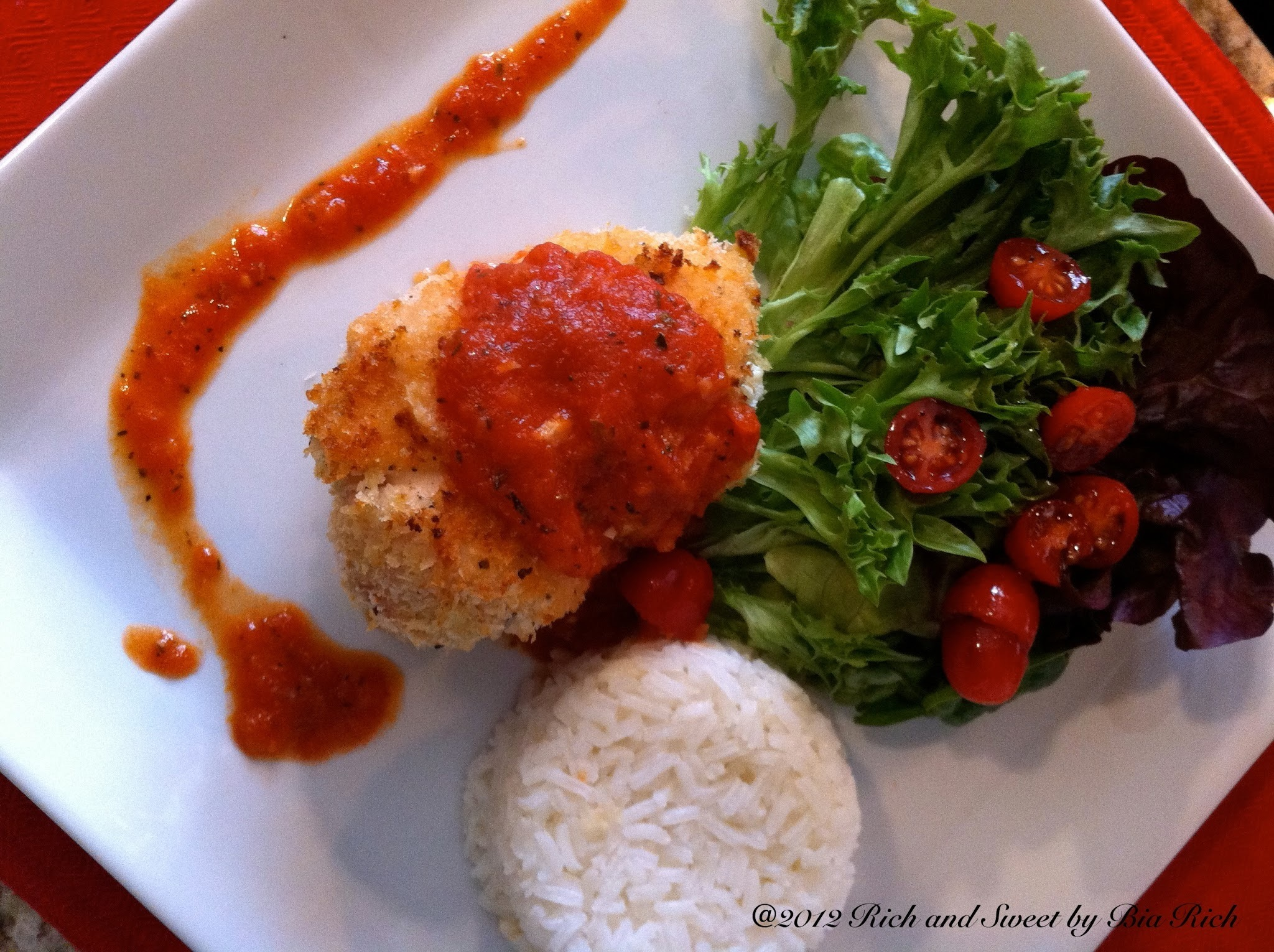 Fresh Mozzarella and Broccoli Stuffed Panko Baked Chicken Cutlets with Marinara Sauce