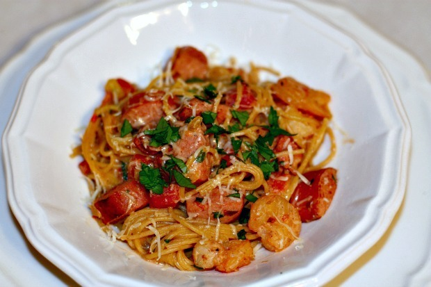 Shrimp and Sausage Pasta with Creamy Sherry Tomato Sauce