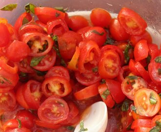Grape Tomato Salad & Goat Cheese for Bruschetta