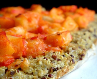 Pizza de quinoa e delicias do mar