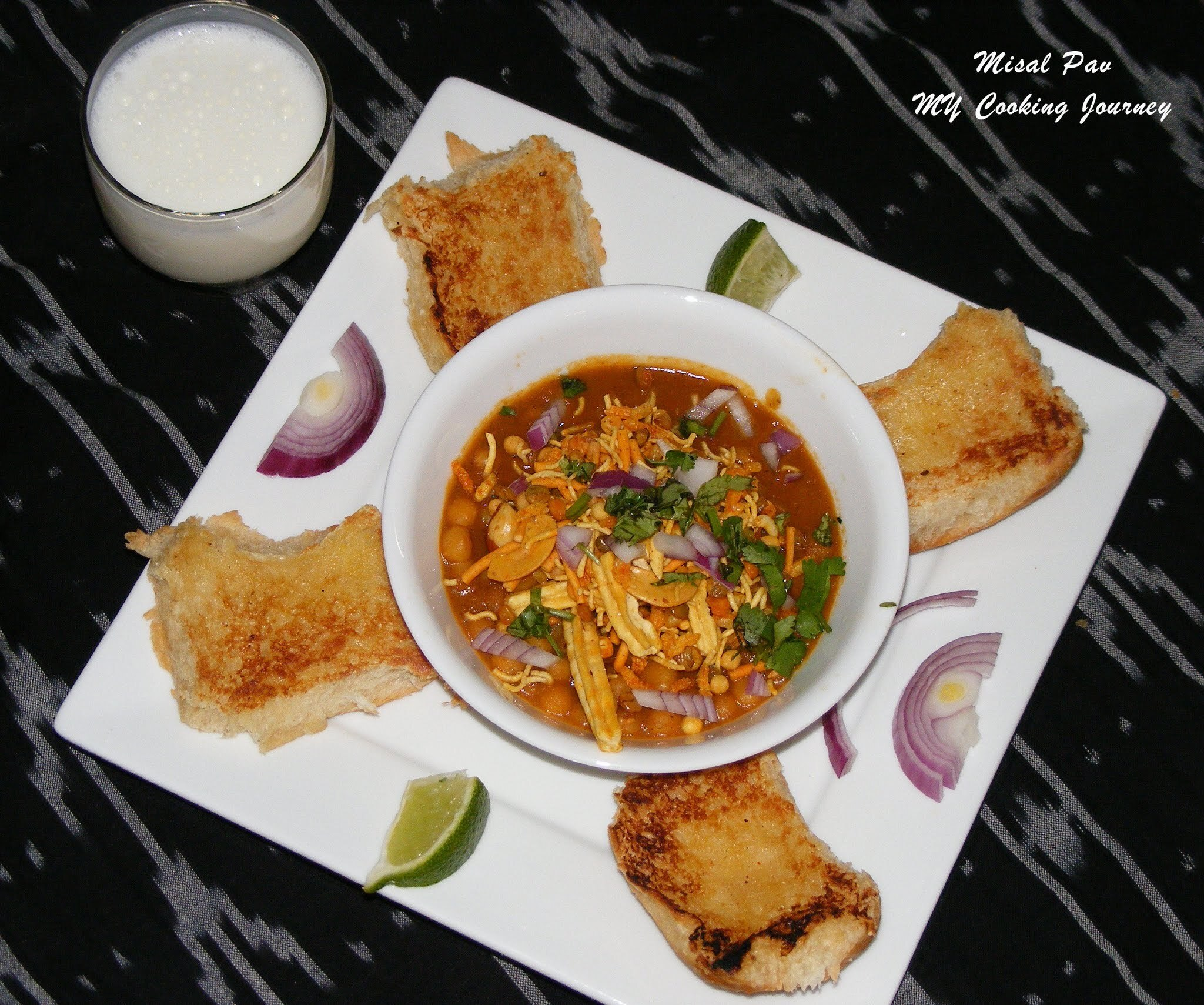 Misal pav (Spiced curry with bread) A delightful Maharashtrian Street food - SNC # 3