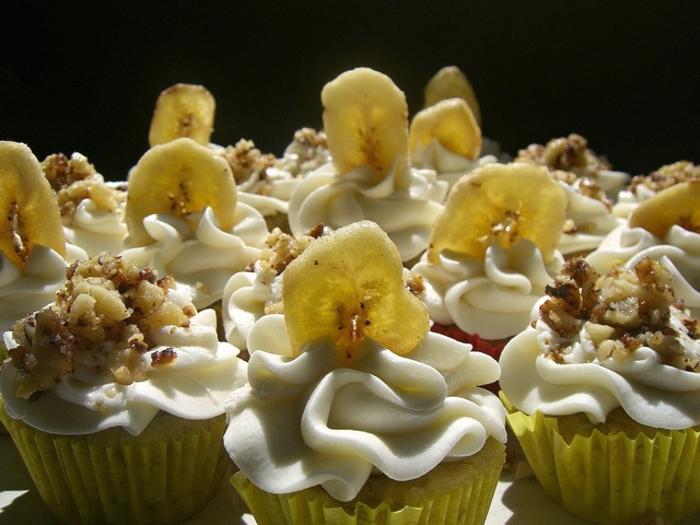 *Monkey Bites*  {Banana Mini Cupcakes ~ Banana Cream Cheese Frosting ~ Rum Candied Walnuts}