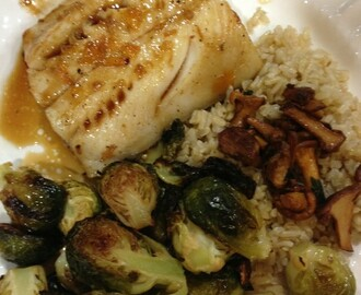 Orange Ginger Cod w Brown Rice, Chanterelles and Roasted Brussel Spouts
