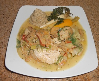 Fricassee of Chicken, Lobster Mushrooms and Florence Fennel with Bulgar Wheat Fontal Polenta