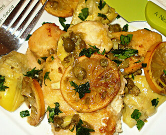 Chicken with Artichokes in a Roasted Lemon Sauce