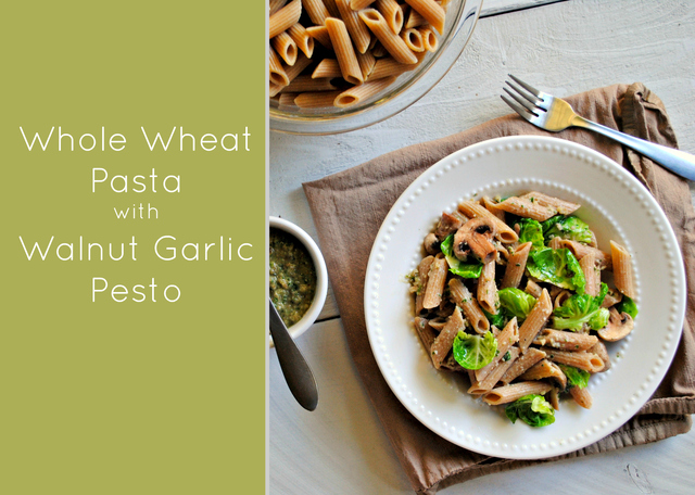 Whole Wheat Pasta with Walnut Garlic Pesto