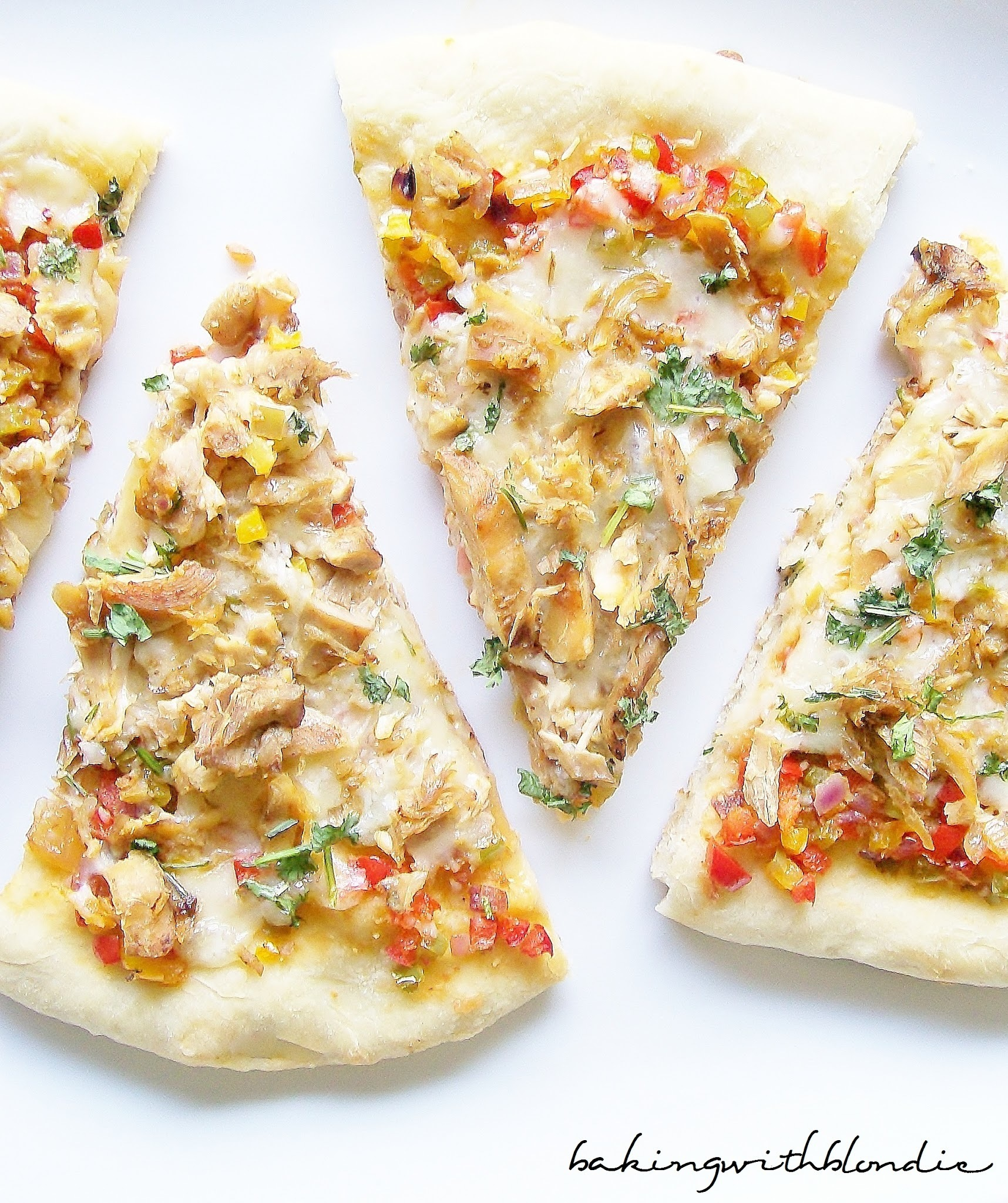 Spicy Chicken Pizza with Pepper Jack Cheese and Cilantro,  Simple No Knead Pizza Dough