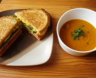 Curried Carrot Soup and Deluxe Grilled Sandwich
