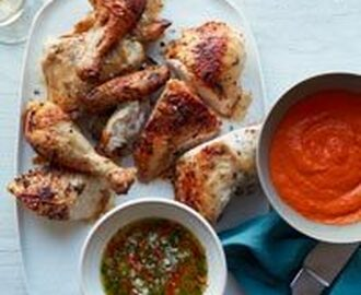 Spice-Rubbed Roast Chicken with Two Sauces