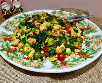 Curried Brussels sprouts with chicken and cavolo Nero