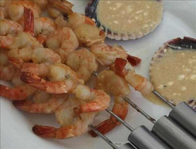 Prawn and Scallop Kebabs with Wasabi Dipping Sauce