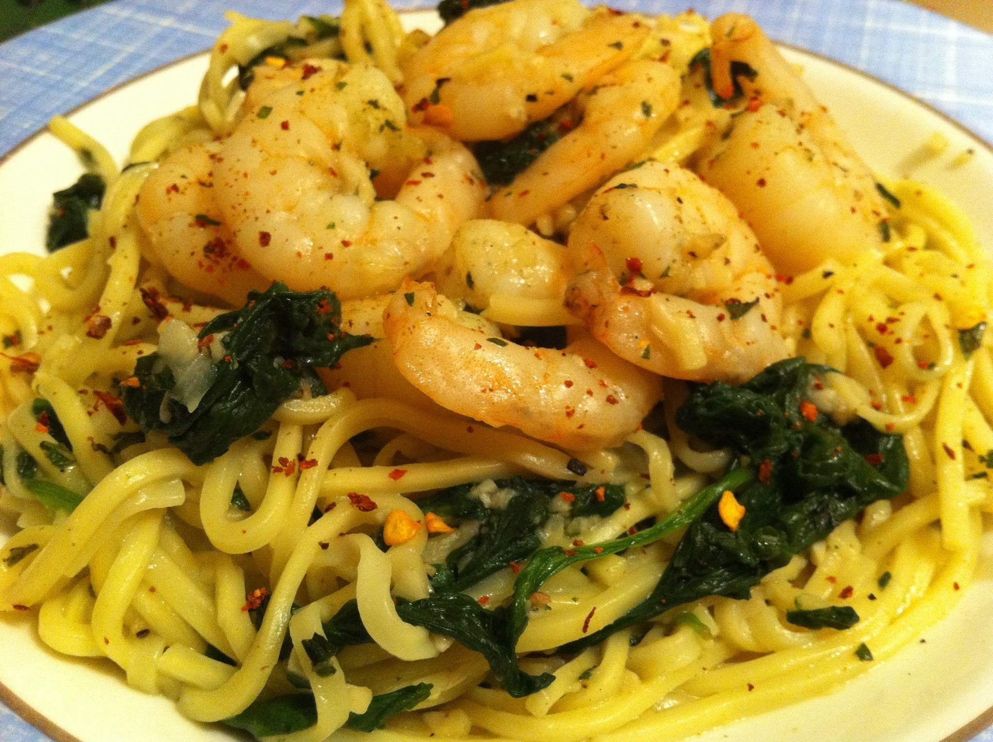 Spicy Garlic Shrimp with Spinach over Noodles