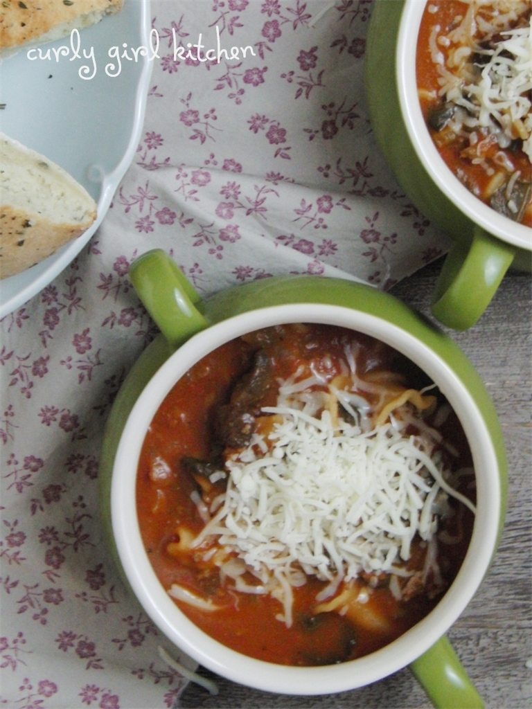 Lasagna Soup with Herbed Garlic Focaccia Bread