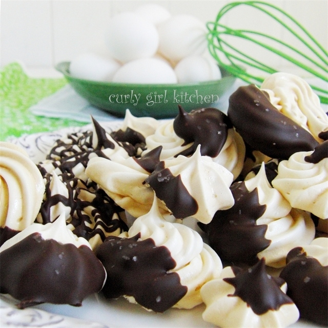 Meringue Cookies with Bittersweet Chocolate and Sea Salt