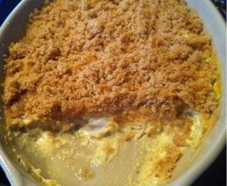 Crumble de cabillaud au lait de coco et au curry