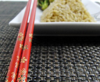 a Pair of Red Chopsticks...  and Shrimp and Veggie Stir Fry