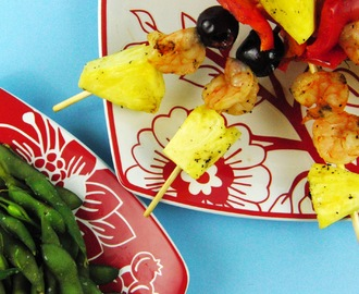 Grilled Shrimp and Pineapple Skewers with Edamame
