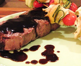 New York Strip Steak with Peach Balsamic Reduction Sauce