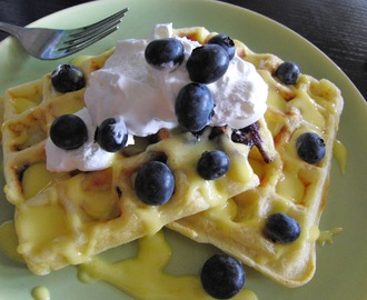 Lemon Blueberry Buttermilk Waffles with warm Lemon Curd