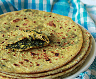 Keerai Paneer Parathas/Spinach Cottage Cheese Flatbreads