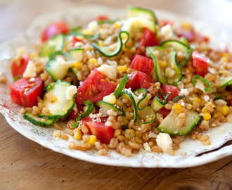 Toasted Barley Salad with Tomato, Zucchini, & Caramelized Corn