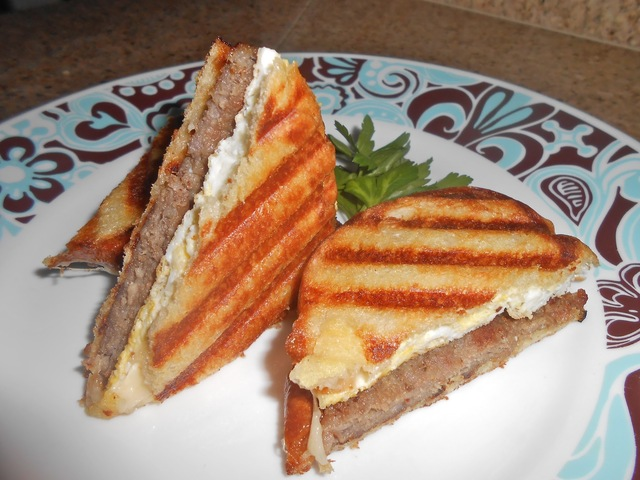 Maple Sausage, Egg and Emmentaler Breakfast Panini