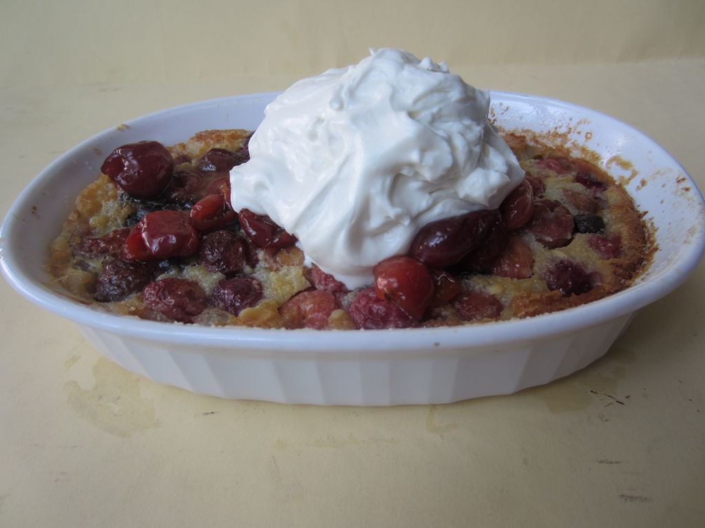 Cherry and Dark Chocolate Chip Clafoutis with Mascarpone Cream