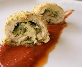 Spinach and Cream Stuffed Chicken Parmigiana