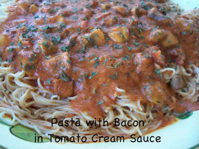 Pasta with Bacon in Tomato Cream Sauce