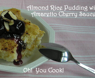 Almond Rice Pudding with Amaretto Cherry Sauce