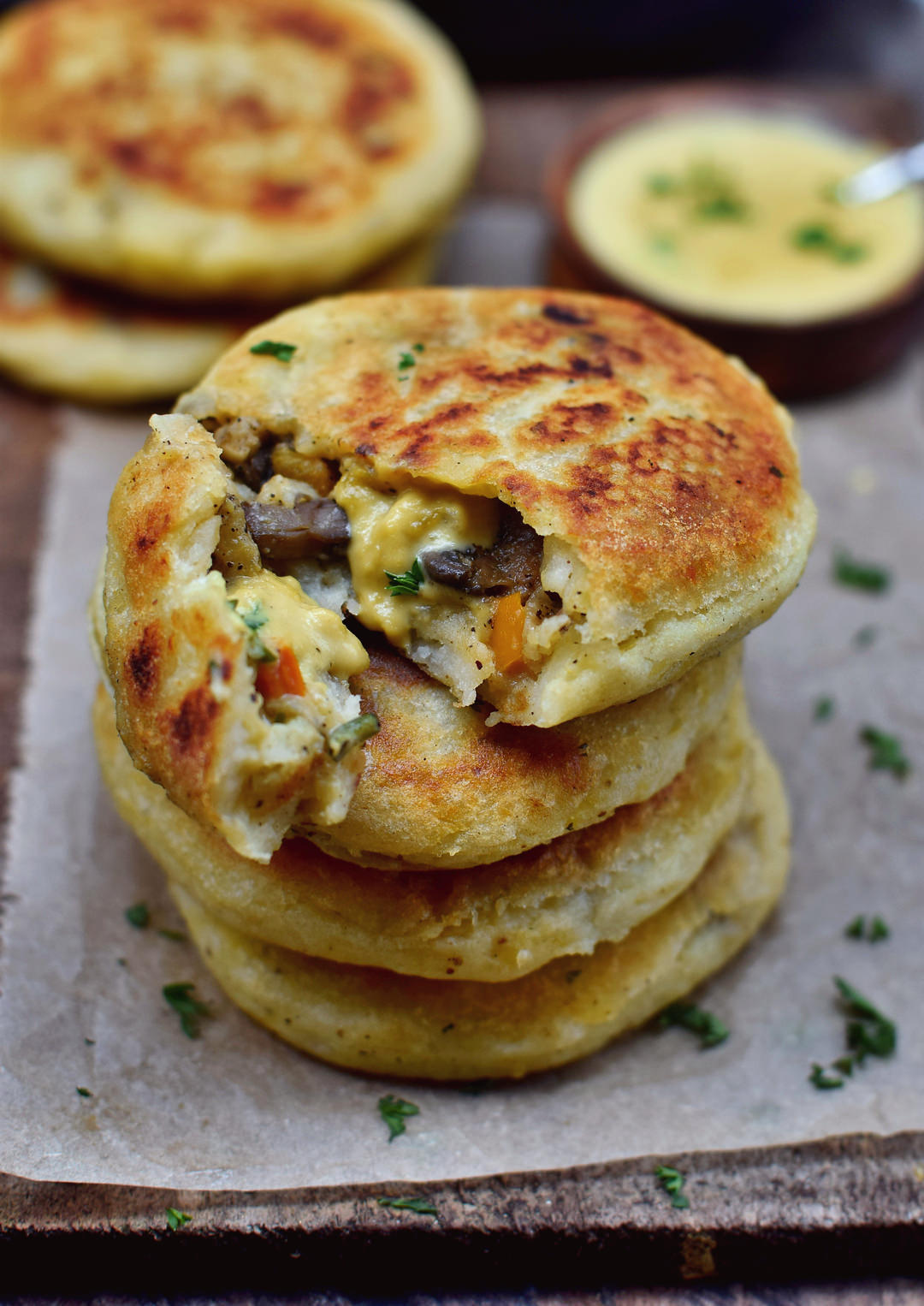 Stuffed potato cakes | vegan, gluten-free recipe