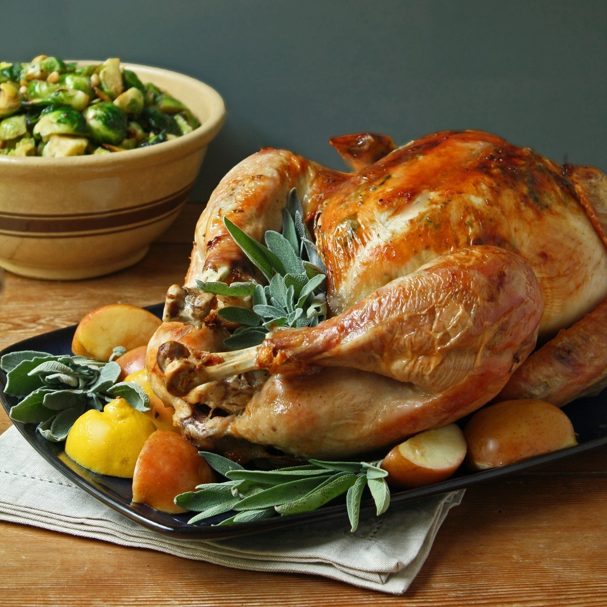 Easy Roasted Turkey w/ Sage Butter