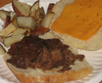 Shredded BBQ Roast Beef in the Crock pot