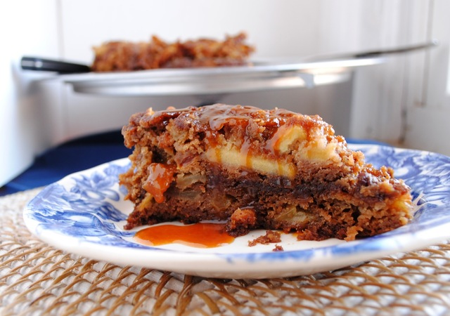 Spiced and Spiked Double Apple Cake with Brown Sugar Bourbon Drizzle
