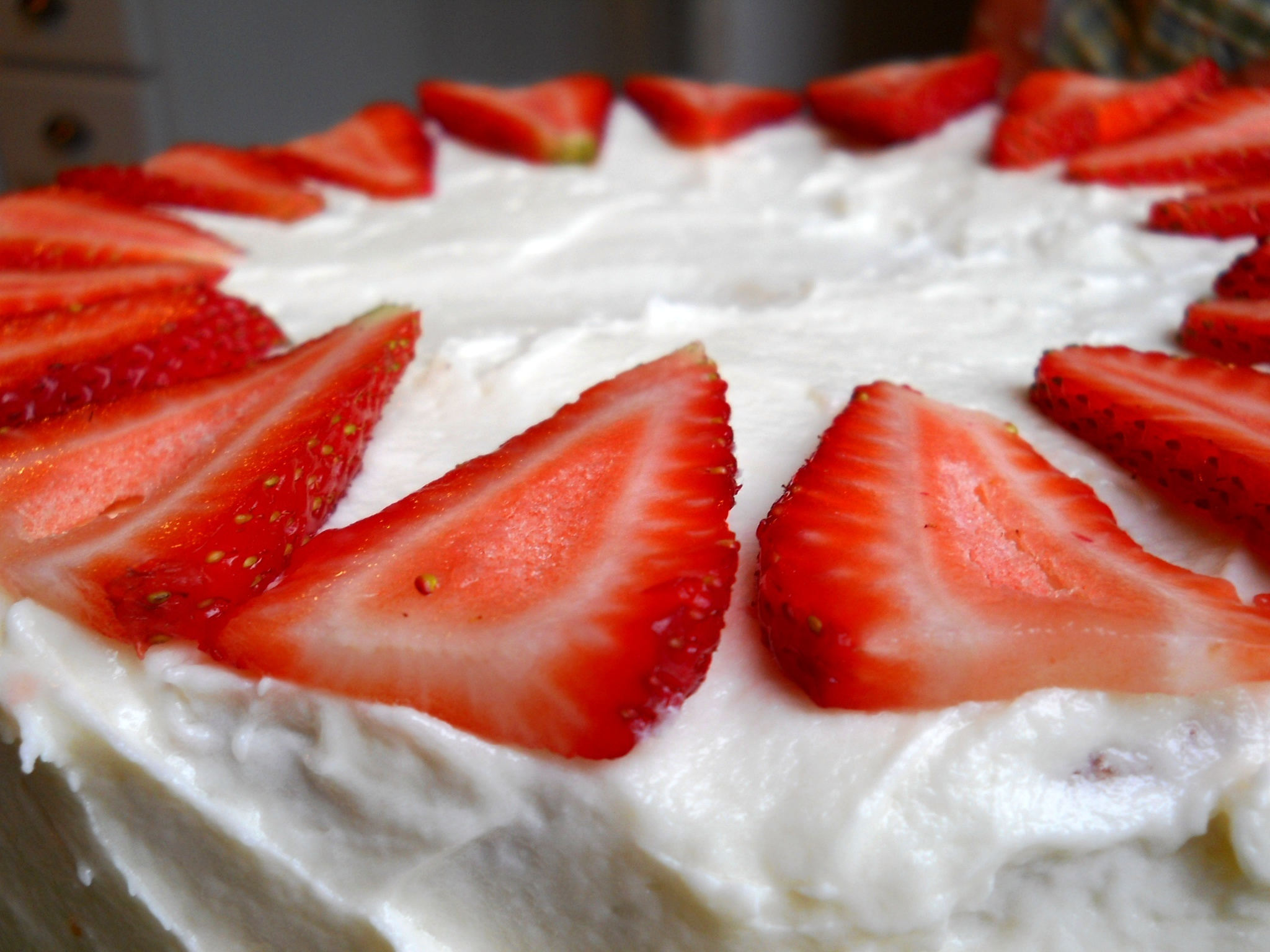 Summertime Strawberry Cake with Cream Cheese Frosting