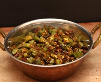 Bhindi sabzi (Bhinda nu shaak or Indian spiced okra)