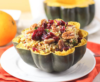Orange Quinoa Stuffed Acorn Squash with Pecans