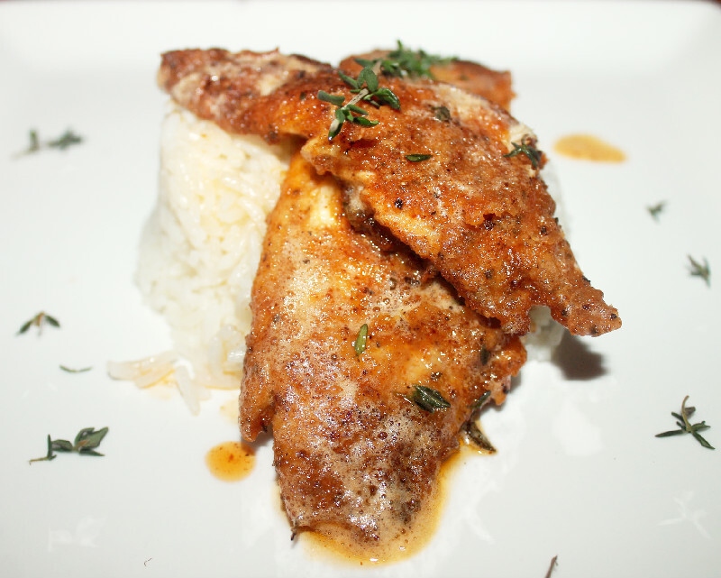 Creole Pan Fried Fish with Thyme Brown Butter Sauce