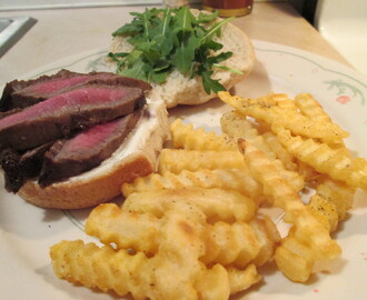 Grilled Marinated Flat Iron Steak Sandwich w/ Baked Crinkle Fries
