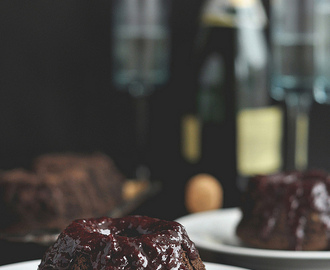 Dark Chocolate Cherry Champagne Cakes