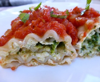 Vegan, Gluten Free Lasagna Rollups Filled With Tofu Ricotta And Pesto