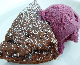 Raw Vegan Blackberry Ice Cream On Gluten Free Chocolate Cake