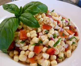 Fresh Corn Salad With Red Bell Pepper And Basil