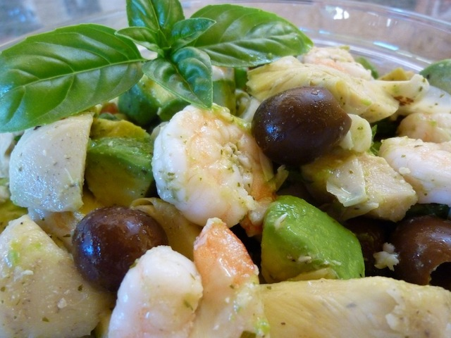 Quick And Easy Shrimp And Artichoke Salad With Black Olives, Avocado And Fresh Basil