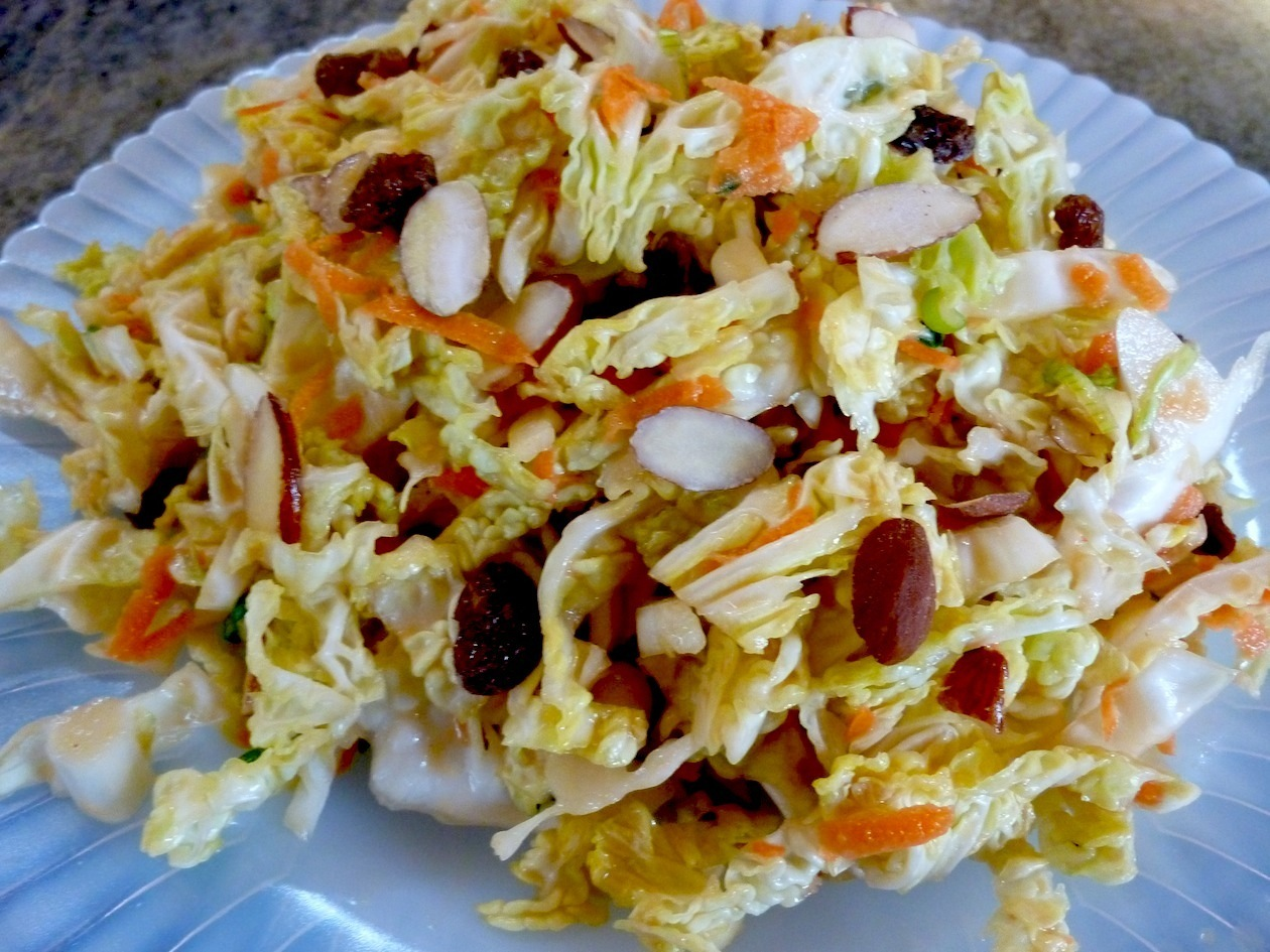 Raw Vegan Asian Coleslaw with a Ginger Tahini Vinaigrette Salad Dressing