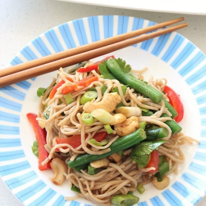Soba Noodle and Vegetable Salad with Lime-Sesame Dressing