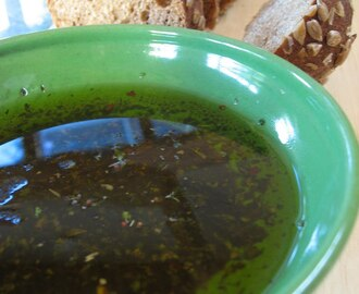 Making Home Made Balsamic Vinaigrette Salad Dressing and Bread Dipping Sauce using a Ceramic Garlic Grating Bowl